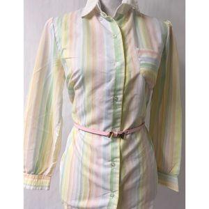 Pink Stripe Vintage Top Size Large